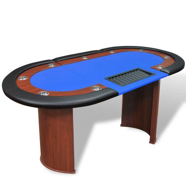 Stół do pokera dla 10 graczy z tacą na żetony, niebieski zdjęcie 1