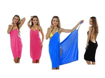 Sukienka Plażowa Tunika Pareo Sarong Ręcznik Black