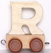 Wagonik z literką R - LITERKA element z układanki ALFABET POCIĄG