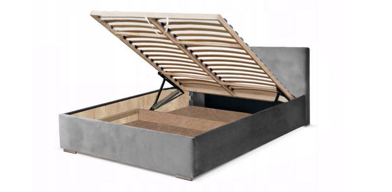 Białe łóżko 140x200 łóżko Tapicerowane Stelaż Pojemnik