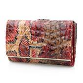 LORENTI portfel damski skórzany wężowa skóra żmija P100 czerwony