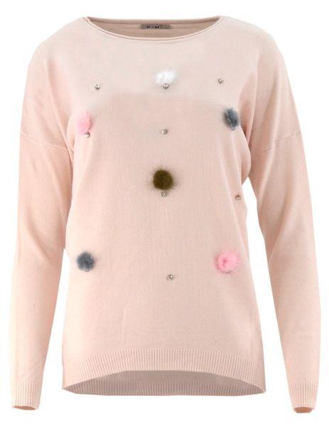 Inne rodzaje Sweter z kolorowymi pomponami (pudrowy róż) Rozmiar - XXL/XXXL IT01