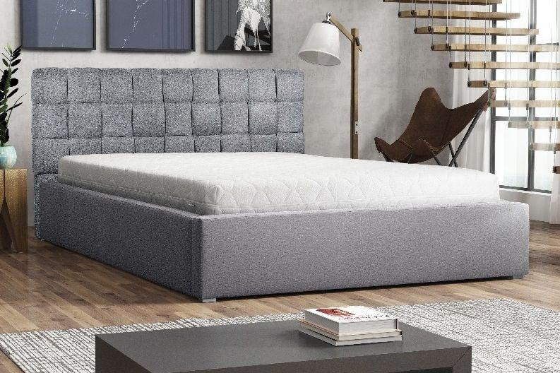 łóżko Tapicerowane 200x200 Stelaż Pojemnik Ogranicznik Zagłówek Malta