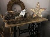 Ozdoba drewniana gwiazda LED 1j 35cm zdjęcie 2