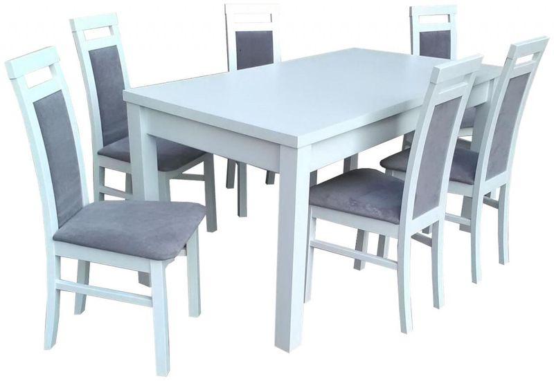Stół Rozkładany 6 Krzeseł A85 Biały Zestaw Hit Arenapl