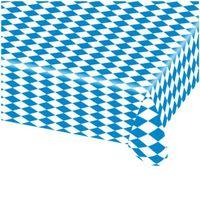Obrus foliowy niebieska KRATA biała 260x80 cm