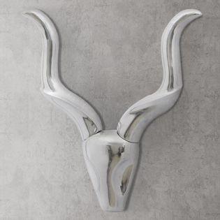 Lumarko Ozdobna głowa gazeli, dekoracja z aluminium, srebrna, 50 cm