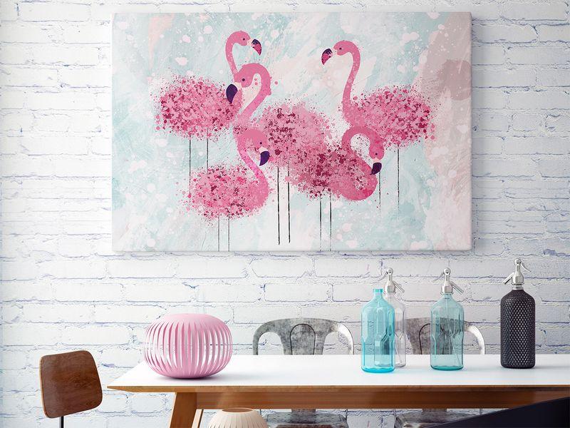80001 Obraz Na Płótnie Flamingi Ptaki Różowy Arenapl
