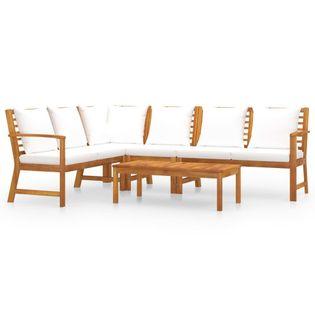 Lumarko 5-cz. zestaw wypoczynkowy do ogrodu, poduszki, drewno akacjowe;