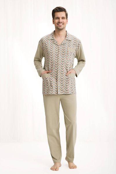 Piżama męska LUNA kod 797 rozpinana beżowy roz. XL zdjęcie 1