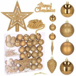 Bombki choinkowe 51 szt. ozdoby świąteczne zestaw złoty