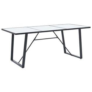 Stół jadalniany, biały, 200 x 100 x 75 cm, hartowane szkło