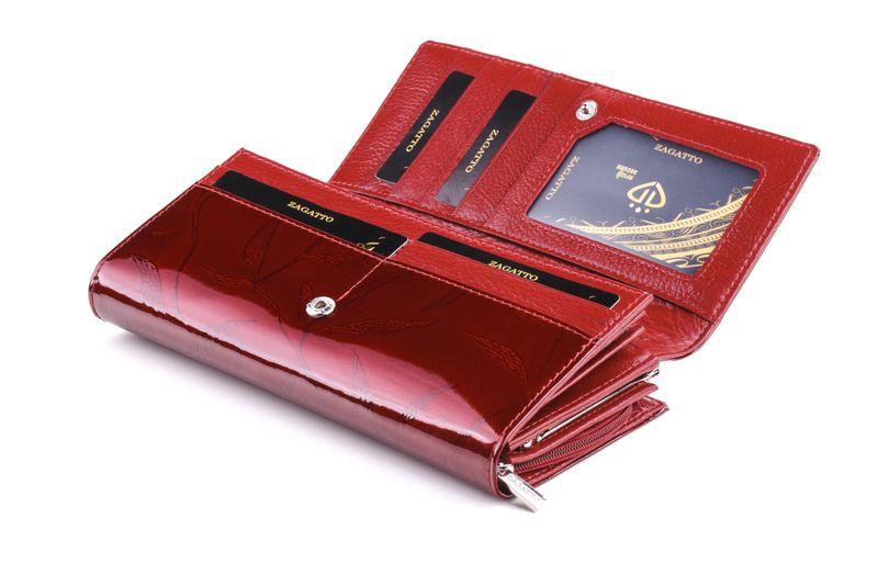 Duży portfel skórzany damski Zagatto czerwony liście RFID ZG-150 Leaf zdjęcie 3