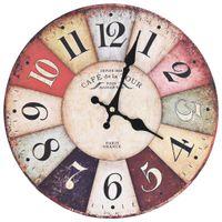 Lumarko Zegar ścienny w stylu vintage, wielokolorowy, 30 cm