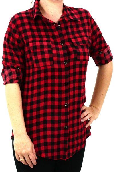 New Look Czerwona Luźna Koszula w Kratę 36 S • Arena.pl