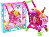 Wózek sklepowy - koszyk na zakupy z akcesoriami - różowy