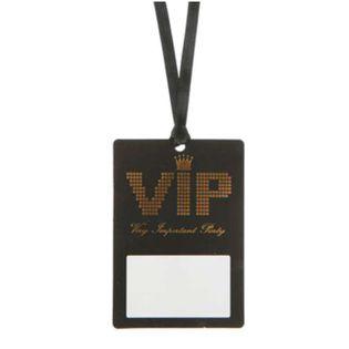 """Identyfikator party """"VIP BLACK"""", SANTEX, 10 x 7 cm, 10 szt"""