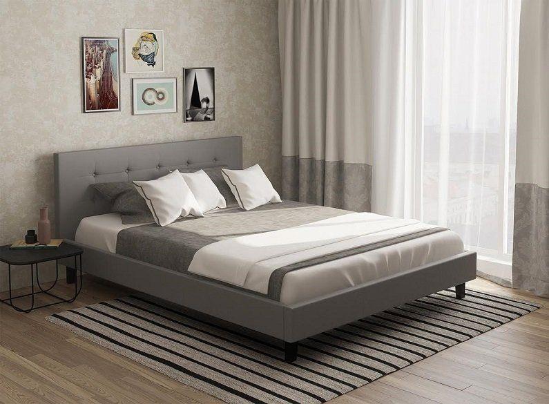 łóżko Do Sypialni Oslo 160x200 Szare