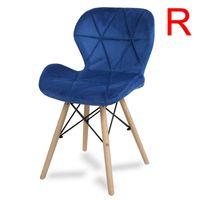 Krzesło na drewnianych bukowych nogach tapicerowane nowoczesne stylowe welurowe do salonu biura niebieskie 024V-BL