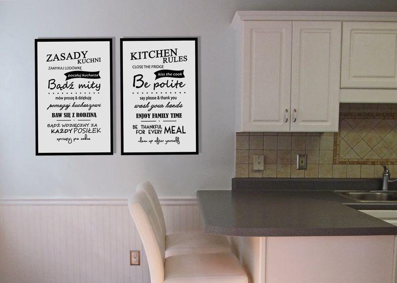 Obrazek Na Płótnie Z Napisami Zasady Kuchni Kuchenne Obrazki Na ścianę