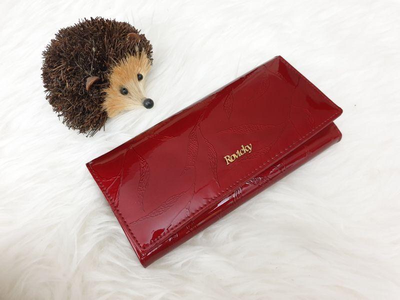 ROVICKY portfel skórzany damski lakierowany liście RFID P090 czerwony zdjęcie 3