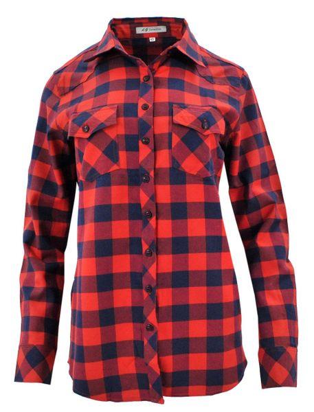 2d6c917fab415b Damska koszula w szeroką kratę granatowo-czerwona Rozmiar - 44 zdjęcie 1