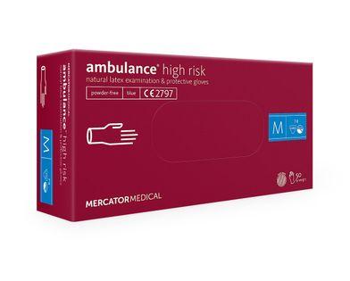 Rękawice lateksowe ambulance high risk M  50 szt