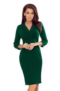 Sukienka z klasycznym kołnierzykiem - Zielony S
