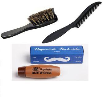 Zestaw grzebień szczotka wosk do brody wąsów stern