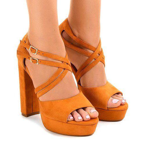 Pomarańczowe sandały na słupku zamszowe r.39 zdjęcie 1