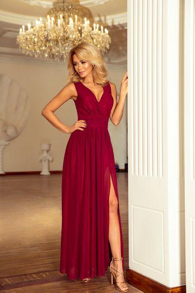 3d4cb8b332 166-3 MAXI szyfonowa sukienka z rozcięciem - BORDOWA Rozmiar - XL zdjęcie 1  ...