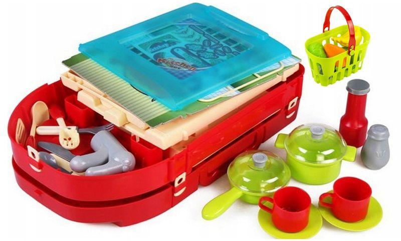Kuchnia dla dzieci w walizce Piekarnik Zlew Akcesoria kuchenne U07 zdjęcie 7