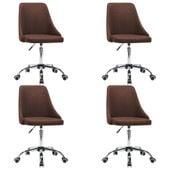 Krzesła Stołowe, 4 Szt., Brązowe, Tkanina zdjęcie 2
