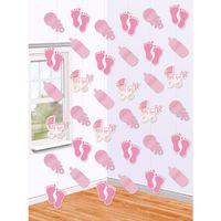 Dekoracja kurtyna Baby Girl różowa 6 szt 213 cm