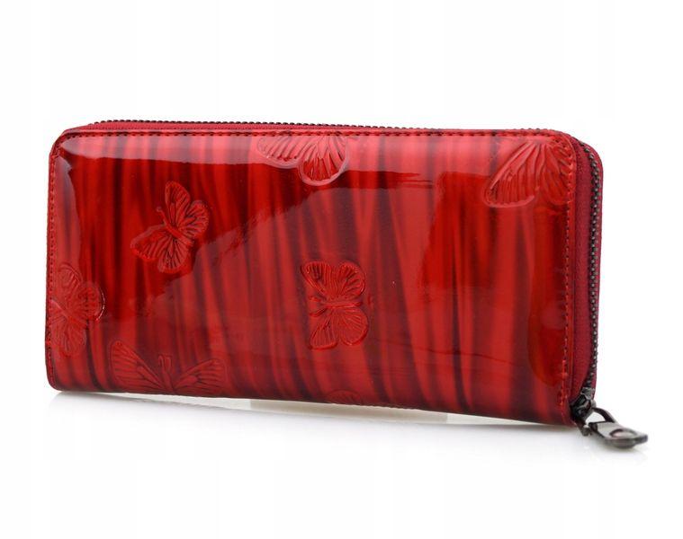 LORENTI portfel skórzany damski motyle suwak P041 czerwony zdjęcie 7
