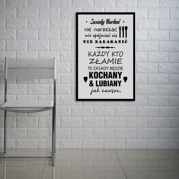 Obraz na płótnie obrazki z napisami do kuchni ZASADY KUCHNI 40x60cm na Arena.pl