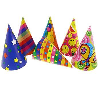 Czapeczki kolorowe Urodziny PARTY MIX 6 szt