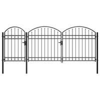 Brama ogrodzeniowa, zaokrąglona, stal, 1,75 x 4 m, czarna