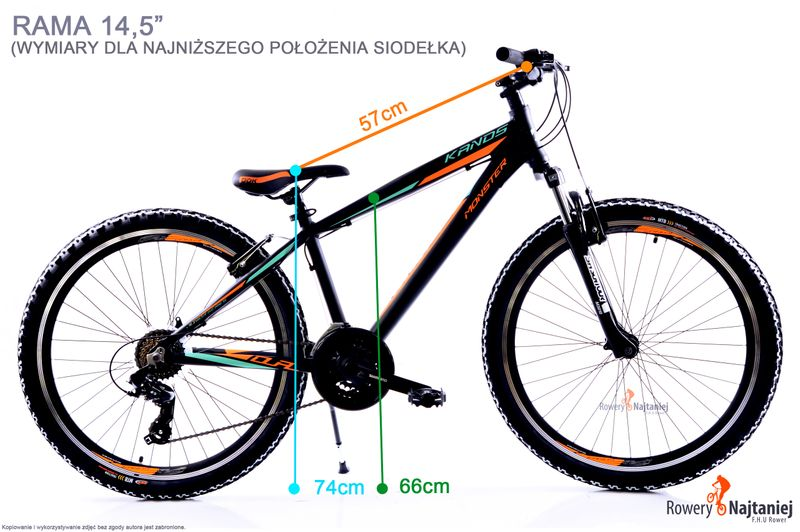 ROWER 26 MTB KANDS MONSTER ALU CZARNO-POMARAŃCZOWY MAT 2020 na Arena.pl