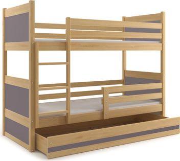 Łóżko łóżka dla dzieci RICO dziecięce piętrowe 200x90 + BARIERKA