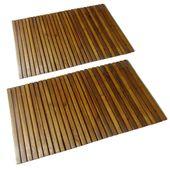 Mata prysznicowa z drewna akacjowego (80 x 50 cm) x2