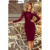 Sukienka  elegancka ołówkowa z koronką EMMA - BORDOWA XL