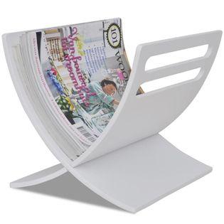Drewniany stojak na gazety, biały