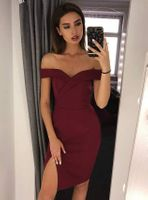 Sukienka Kessy mini bez ramiączek-bordowy S (36)