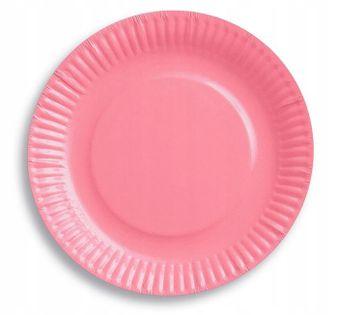 Talerzyki jasno różowe 18cm Roczek Urodziny 6 szt
