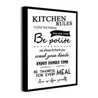Obrazek na płótnie z napisami KITCHEN RULES obrazki do kuchni 40x60cm