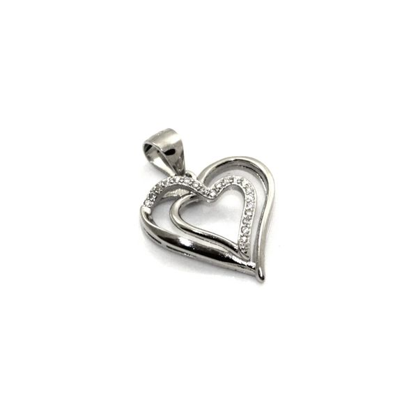 Wisiorek srebrny rodowany serduszko z cyrkoniami zdjęcie 1