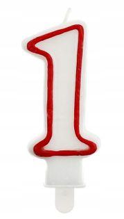 Świeczka na tort Cyferka z obwódką Urodziny balony
