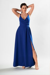 Sukienka maxi na ramiączkach z kopertowym dekoltem i głębokim rozporkiem z przodu - Niebieski L