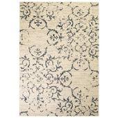 Nowoczesny dywan, wzór kwiatowy, 120 x 170 cm, beżowo-niebieski
